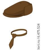 Купить «Коричневая кепка с галстуком на белом фоне», иллюстрация № 6475524 (c) Алексей Зайцев / Фотобанк Лори