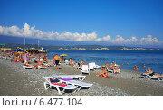 Купить «Абхазия,пляж в Пицунде», фото № 6477104, снято 10 сентября 2014 г. (c) Игорь Потапов / Фотобанк Лори