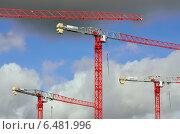 Купить «Строительные краны», фото № 6481996, снято 21 января 2014 г. (c) Сергей Трофименко / Фотобанк Лори