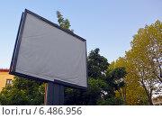 Купить «Пустой рекламный щит на фоне деревьев», фото № 6486956, снято 12 сентября 2014 г. (c) Александр Замараев / Фотобанк Лори