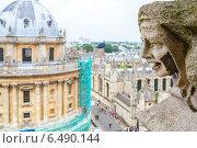 Голова горгульи с церкви Святой Девы Марии на фоне Редклиф камеры. Оксфорд. Англия (2013 год). Стоковое фото, фотограф Andrei Nekrassov / Фотобанк Лори