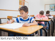 Disabled pupil writing at desk in classroom. Стоковое фото, агентство Wavebreak Media / Фотобанк Лори