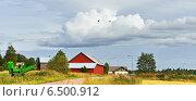Сельский пейзаж с летящими журавлями. Стоковое фото, фотограф Валерия Попова / Фотобанк Лори
