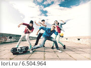 Купить «group of teenagers dancing», фото № 6504964, снято 20 июля 2013 г. (c) Syda Productions / Фотобанк Лори