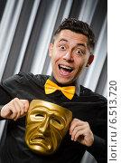 Купить «Funny concept with theatrical mask», фото № 6513720, снято 6 июля 2014 г. (c) Elnur / Фотобанк Лори