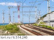 Купить «Двухколейная железная дорога на участке Адлер - Туапсе, идущая по берегу Черного моря», фото № 6514240, снято 29 августа 2014 г. (c) Владимир Сергеев / Фотобанк Лори