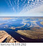 Весенний паводок на реке, вид сверху. Стоковое фото, фотограф Владимир Мельников / Фотобанк Лори