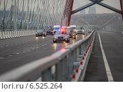 Купить «Кортеж автомобилей В.В.Путина на открытии нового моста в Новосибирске, 8 октября 2014г.», фото № 6525264, снято 8 октября 2014 г. (c) Сергей Тимофеев / Фотобанк Лори
