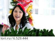 Купить «Composite image of positive businesswoman celebrating christmas», фото № 6529444, снято 29 февраля 2020 г. (c) Wavebreak Media / Фотобанк Лори