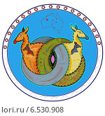 Купить «Эмблема с кенгуру», иллюстрация № 6530908 (c) Дмитрий Никитин / Фотобанк Лори
