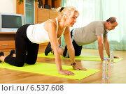 Pensioners doing exercises indoor. Стоковое фото, фотограф Яков Филимонов / Фотобанк Лори