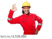 Купить «Industrial worker isolated on the white background», фото № 6538880, снято 9 июня 2014 г. (c) Elnur / Фотобанк Лори