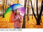 Купить «happy girl with umbrella outdoor», фото № 6541560, снято 8 октября 2014 г. (c) Майя Крученкова / Фотобанк Лори