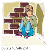 Грустный подросток с телефоном. Стоковая иллюстрация, иллюстратор ElenaGumerova / Фотобанк Лори