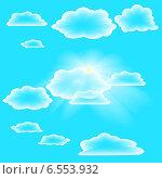 Облачное небо и солнце. Стоковая иллюстрация, иллюстратор Портнова Екатерина / Фотобанк Лори