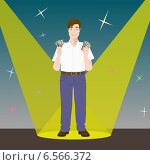Мужчина с долларами в руках на сцене. Стоковая иллюстрация, иллюстратор Портнова Екатерина / Фотобанк Лори