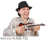 Купить «Man with small guitar in funny musical concept», фото № 6568732, снято 2 января 2014 г. (c) Elnur / Фотобанк Лори