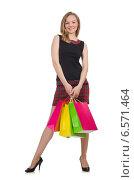 Купить «Woman after shopping spree on white», фото № 6571464, снято 19 июня 2014 г. (c) Elnur / Фотобанк Лори