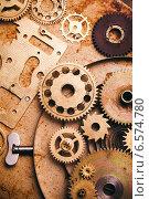 Купить «Стимпанк фон, шестерни на старой металлической поверхности», фото № 6574780, снято 2 октября 2014 г. (c) Оксана Ковач / Фотобанк Лори