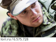 Купить «close up of young soldier in military uniform», фото № 6575728, снято 14 августа 2014 г. (c) Syda Productions / Фотобанк Лори