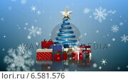 Купить «Snowflakes falling on christmas tree and gifts», видеоролик № 6581576, снято 22 июля 2019 г. (c) Wavebreak Media / Фотобанк Лори