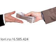 Купить «Женская и мужская рука с пачкой денег», фото № 6585424, снято 22 октября 2014 г. (c) Элина Гаревская / Фотобанк Лори