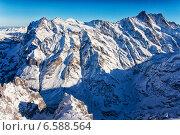 Гора Юнгфрау зимой, вид с вертолета. Швейцария (2013 год). Стоковое фото, фотограф Роман Бабакин / Фотобанк Лори