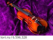 Купить «Скрипка на фиолетовом фоне», фото № 6596328, снято 27 октября 2014 г. (c) Павел Лиховицкий / Фотобанк Лори