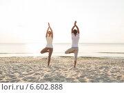 Купить «couple making yoga exercises outdoors from back», фото № 6602888, снято 6 августа 2014 г. (c) Syda Productions / Фотобанк Лори