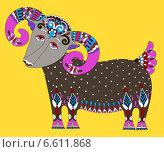 Купить «Коза-символ 2015 года в этническом стиле», иллюстрация № 6611868 (c) Олеся Каракоця / Фотобанк Лори