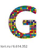 Купить «Разноцветная буква G в стиле диско на белом фоне», иллюстрация № 6614352 (c) Евгений Ткачёв / Фотобанк Лори