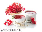 Купить «Калина протертая с сахаром на белом фоне», фото № 6618440, снято 2 ноября 2014 г. (c) Peredniankina / Фотобанк Лори