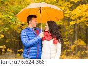 Купить «smiling couple with umbrella in autumn park», фото № 6624368, снято 4 октября 2014 г. (c) Syda Productions / Фотобанк Лори