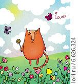 Открытка с котом. Стоковая иллюстрация, иллюстратор Дарья Столярова / Фотобанк Лори