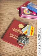 Купить «Орден Трудовой Славы и орденская книжка», фото № 6628236, снято 20 октября 2014 г. (c) Александр Романов / Фотобанк Лори