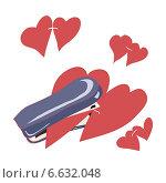 Степлер и красные сердечки. Стоковая иллюстрация, иллюстратор ElenaGumerova / Фотобанк Лори