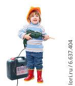 Купить «child in hardhat with drill and tool box», фото № 6637404, снято 4 декабря 2012 г. (c) Яков Филимонов / Фотобанк Лори