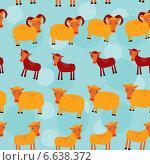 Купить «Набор забавных животных. Бесшовный узор на синем фоне», иллюстрация № 6638372 (c) Екатерина Перевалова / Фотобанк Лори