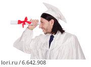 Купить «Young male student graduated from high school on white», фото № 6642908, снято 3 декабря 2013 г. (c) Elnur / Фотобанк Лори