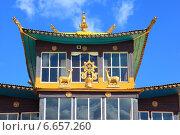Купить «Фрагмент строения крыши дацана», фото № 6657260, снято 19 августа 2014 г. (c) Валерий Митяшов / Фотобанк Лори