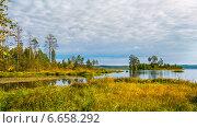 Осенний пейзаж, озеро Salmon в Карелии, Россия. Стоковое фото, фотограф Alexander Shadrin / Фотобанк Лори