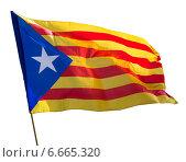Flying Catalonia flag. Стоковое фото, фотограф Яков Филимонов / Фотобанк Лори