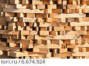 Купить «Брус в штабеле», фото № 6674924, снято 18 мая 2014 г. (c) Алёшина Оксана / Фотобанк Лори