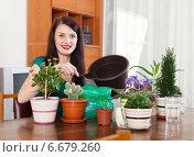 Купить «Smiling woman transplanting flowers plant», фото № 6679260, снято 20 марта 2019 г. (c) Яков Филимонов / Фотобанк Лори
