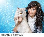 Девушка с кошкой. Стоковое фото, фотограф ElenArt / Фотобанк Лори
