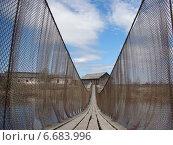 Шуйское. Подвесной мост. Стоковое фото, фотограф Сергей Скрипко / Фотобанк Лори
