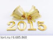 Купить «Золотистые цифры 2015 и колокольчики», фото № 6685860, снято 28 июня 2012 г. (c) Владимир Ковальчук / Фотобанк Лори