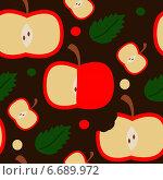 Бесшовный узор с яблоками. Стоковая иллюстрация, иллюстратор Tatiana Makhakhei / Фотобанк Лори
