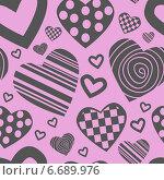 Бесшовный розовый фон с сердечками. Стоковая иллюстрация, иллюстратор Tatiana Makhakhei / Фотобанк Лори