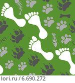 Зеленый фон со следами. Стоковая иллюстрация, иллюстратор Tatiana Makhakhei / Фотобанк Лори